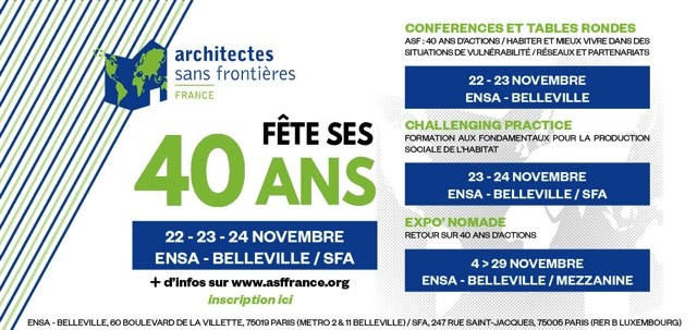 Architectes Sans Frontières France souffle cette année ses 40 bougies !